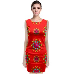 Geometric Circles Seamless Pattern Classic Sleeveless Midi Dress