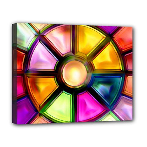Glass Colorful Stained Glass Deluxe Canvas 20  X 16