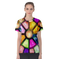 Glass Colorful Stained Glass Women s Cotton Tee
