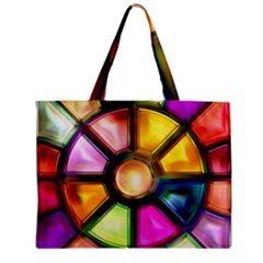 Glass Colorful Stained Glass Zipper Mini Tote Bag by Nexatart
