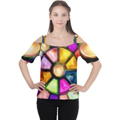 Glass Colorful Stained Glass Women s Cutout Shoulder Tee