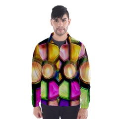 Glass Colorful Stained Glass Wind Breaker (Men) by Nexatart