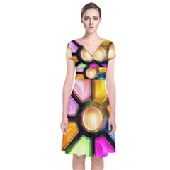Glass Colorful Stained Glass Short Sleeve Front Wrap Dress by Nexatart