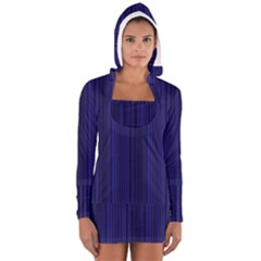 Deep Blue Lines Women s Long Sleeve Hooded T Shirt by Valentinaart
