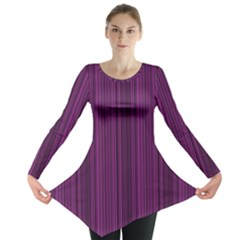 Deep Purple Lines Long Sleeve Tunic  by Valentinaart