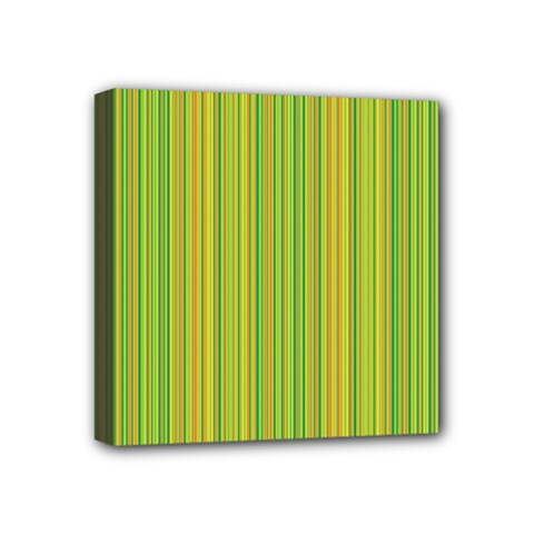 Green Lines Mini Canvas 4  X 4  by Valentinaart