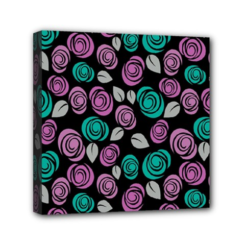 Roses Pattern Mini Canvas 6  X 6  by Valentinaart