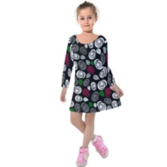 Elegant Roses Design Kids  Long Sleeve Velvet Dress by Valentinaart