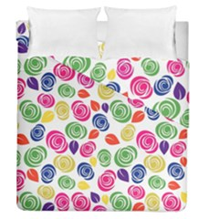 Colorful Roses Duvet Cover Double Side (queen Size) by Valentinaart