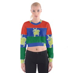 Flag Of Myanmar Kayah State Women s Cropped Sweatshirt by abbeyz71