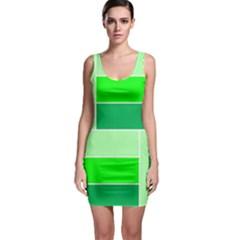 Green Shades Geometric Quad Sleeveless Bodycon Dress