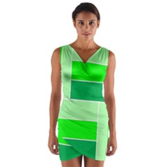Green Shades Geometric Quad Wrap Front Bodycon Dress by Nexatart