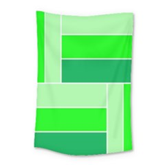 Green Shades Geometric Quad Small Tapestry by Nexatart