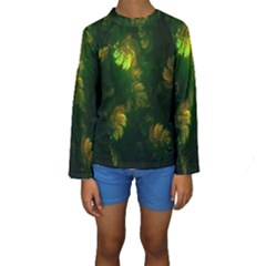 Light Fractal Plants Kids  Long Sleeve Swimwear