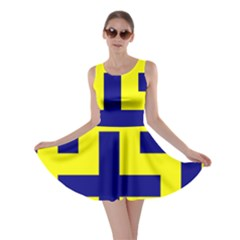 Pattern Blue Yellow Crosses Plus Style Bright Skater Dress