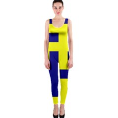 Pattern Blue Yellow Crosses Plus Style Bright Onepiece Catsuit by Nexatart