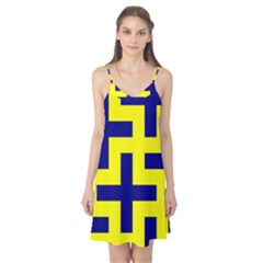 Pattern Blue Yellow Crosses Plus Style Bright Camis Nightgown by Nexatart