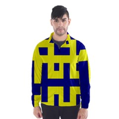 Pattern Blue Yellow Crosses Plus Style Bright Wind Breaker (Men) by Nexatart