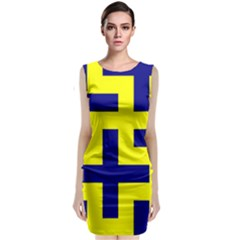 Pattern Blue Yellow Crosses Plus Style Bright Classic Sleeveless Midi Dress
