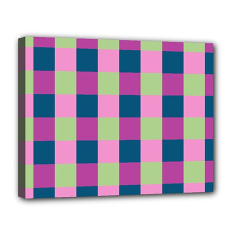Pink Teal Lime Orchid Pattern Canvas 14  X 11