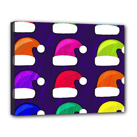 Santa Hats Santa Claus Holidays Canvas 14  X 11