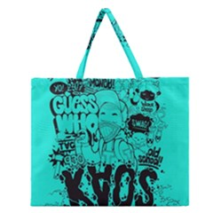 Typography Illustration Chaos Zipper Large Tote Bag by Nexatart