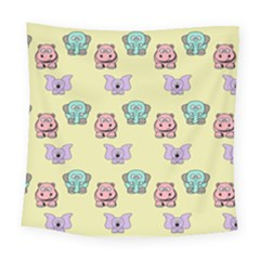 Animals Pastel Children Colorful Square Tapestry (large)