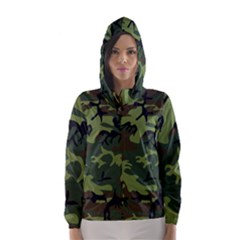 Camouflage Green Brown Black Hooded Wind Breaker (women) by Nexatart