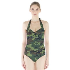 Camouflage Green Brown Black Halter Swimsuit by Nexatart