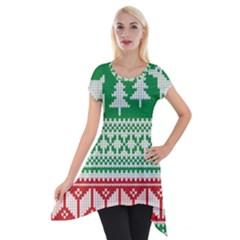 Christmas Jumper Pattern Short Sleeve Side Drop Tunic by Nexatart