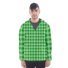 Gingham Background Fabric Texture Hooded Wind Breaker (men)