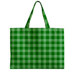 Gingham Background Fabric Texture Zipper Mini Tote Bag
