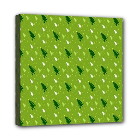 Green Christmas Tree Background Mini Canvas 8  X 8  by Nexatart