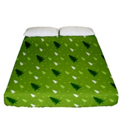 Green Christmas Tree Background Fitted Sheet (queen Size) by Nexatart
