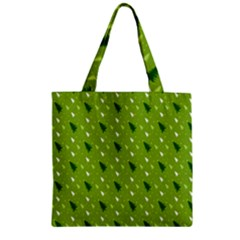 Green Christmas Tree Background Zipper Grocery Tote Bag by Nexatart
