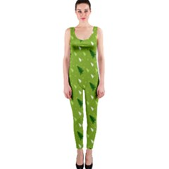 Green Christmas Tree Background Onepiece Catsuit by Nexatart
