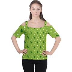 Green Christmas Tree Background Women s Cutout Shoulder Tee