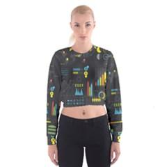 Graphic Table Symbol Vector Chart Women s Cropped Sweatshirt by Nexatart