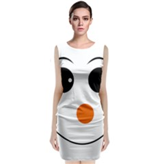 Happy Face With Orange Nose Vector File Classic Sleeveless Midi Dress