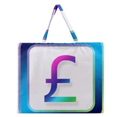 Icon Pound Money Currency Symbols Zipper Large Tote Bag by Nexatart