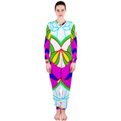 Pattern Template Stained Glass Onepiece Jumpsuit (ladies)  by Nexatart