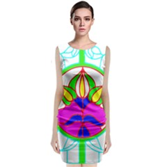 Pattern Template Stained Glass Classic Sleeveless Midi Dress