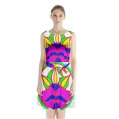 Pattern Template Stained Glass Sleeveless Chiffon Waist Tie Dress by Nexatart