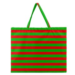 Pattern Lines Red Green Zipper Large Tote Bag by Nexatart