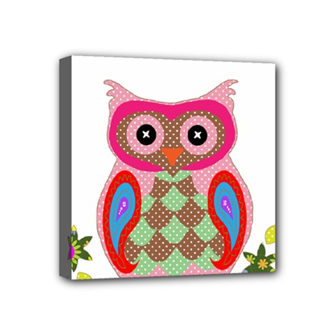 Owl Colorful Patchwork Art Mini Canvas 4  X 4