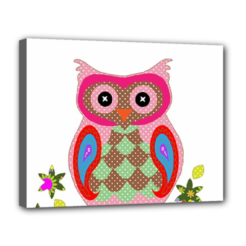 Owl Colorful Patchwork Art Canvas 14  X 11  by Nexatart