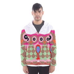 Owl Colorful Patchwork Art Hooded Wind Breaker (men) by Nexatart