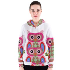 Owl Colorful Patchwork Art Women s Zipper Hoodie by Nexatart