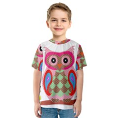 Owl Colorful Patchwork Art Kids  Sport Mesh Tee
