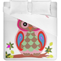 Owl Colorful Patchwork Art Duvet Cover Double Side (king Size) by Nexatart